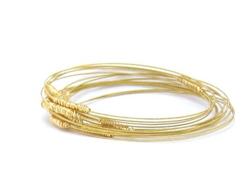 Bangle Bracelet Stack // Set of 9 Bracelets // Guitar String Bracelets // Thin Gold Bracelets // Eco-Friendly Jewelry // Stacking Bangles