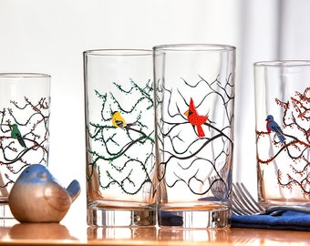 Four Seasons Bird Glasses - 4 Everyday Water Glasses, The Four Seasons, Bird Glasses, Cardinal, Bluebird, Finch, Hummingbird Glass