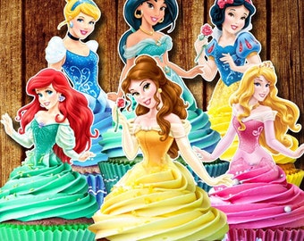 PRINTABLE Disney Princess Cupcake Toppers / Classic Princess's / Instant Download / Printable Party Favors