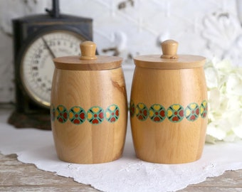 Vintage Wooden Canisters, Soviet Wood Canisters, Wood Containers with Lids, Wooden Kitchen Storage