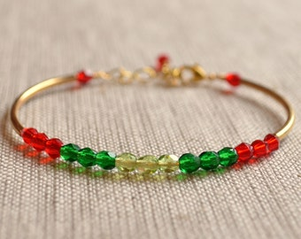 Christmas Jewelry, Gold Plated Bangle, Holiday Bracelet, Bright Red Emerald Green Lime Glass Beads, Adjustable, Beaded Jewelry