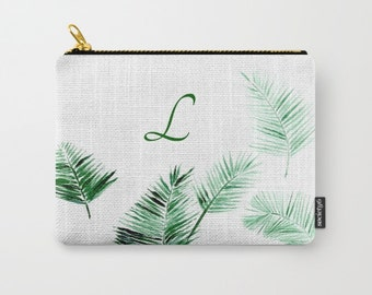 Personalized Initial Palm Leaf Pouch, custom pouch, palm leaf pouch, personalized pouch, monogram pouch, bridesmaid pouch, initial pouch