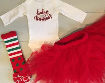 Babys First Christmas Onesie Tutu Leg Warmers Set | Christmas Tutu | Christmas Leggings | Glitter Onesie