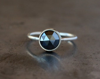 Black Diamond Ring Palladium White Gold Large Round Rose Cut Diamond Unique Engagement Ring Eco Friendly Recycled Metal Conflict Free