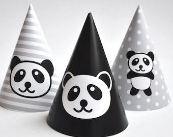 Pandas happy birthday party hats, panda party, party paper decoration, Birthday Party Package, printables, printing party decor, panda