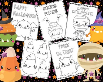 Halloween Coloring Pages - The Crayon Crowd, monsters, cute, printable, party, party favors, Coloring book, Sheets, kids, pdf
