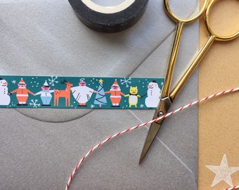 Illustrated Holiday Washi Tape / Illustrated Christmas Washi Tape / Illustrated Decorative Tape