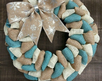 Winter wreath Christmas wreath burlap wreath teal wreath snowflake wreath turquoise wreath silver wreath shabby chic wreath