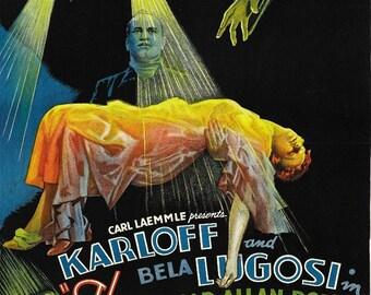 The Black Cat Boris Karloff Vintage Horror Film Movie Poster Art Print Picture A3 A4