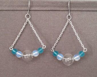 Moonstone Chandelier Earrings, Beach glass earrings, Elegant earrings, Cruise wear, Party earrings, Special occasion, Aqua Frosted Glass