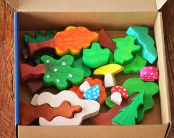 Waldorf Wooden Toys, Wooden Tree Toys, Large Set of Waldorf Trees, Trees Play Set, Waldorf Forest Toys, Wooden Forest Toys, Birthday Gift