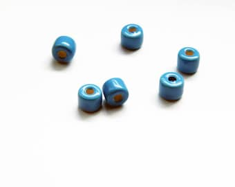 15 Blue Mykonos Greek Ceramic 8x6mm Glazed Beads Cube Spacers Enamel Ceramic Mykonos Greek Beads C 10 423
