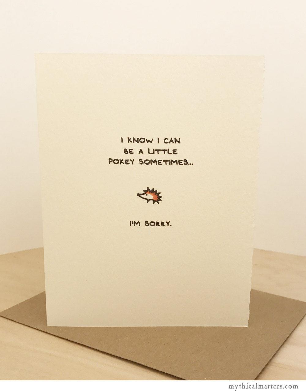 Im sorry card hedgehog greeting card cute adorable paper made in im sorry card hedgehog greeting card cute adorable paper made in canada toronto apology cute pokey animal enfrancais kristyandbryce Gallery