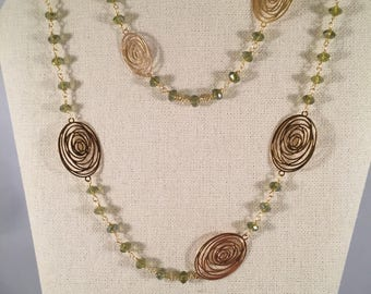 Green Olive Crystal Necklace