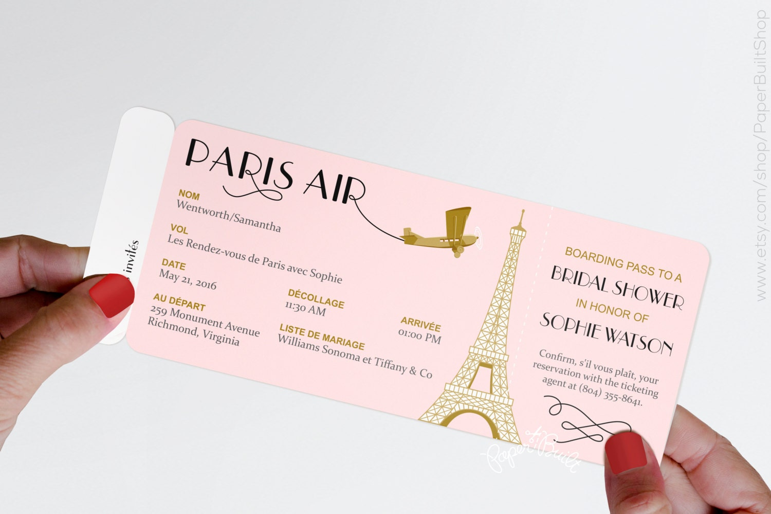 Paris Theme Party Boarding Pass Invitation Real Airline