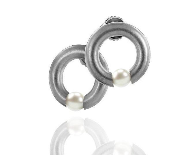 Modern White Pearl Tension Earrings in Stainless Steel