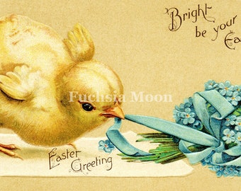 DIGITAL DOWNLOAD : Sweetest Vintage Victorian Easter Chickwith Forget Me Nots Image