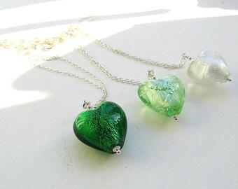 Fünfer-Freitag-Kette bieten, Murano-Glas-Herz-Anhänger, Sterling Silberkette