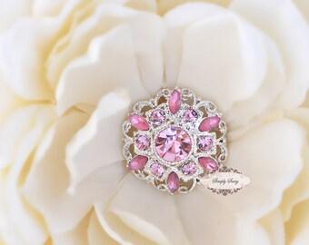5pcs RD154 Light Pink Rhinestone Silver Metal Flat Back Embellishment Bridal Wedding Hair invitations favors bouquets napkins hair clips