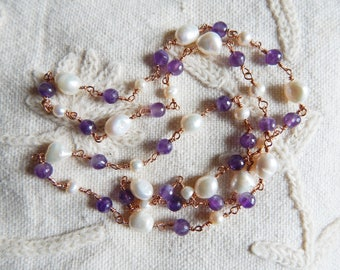 Art Deco Style Wire Link Amethyst and Pearl Handmade Necklace