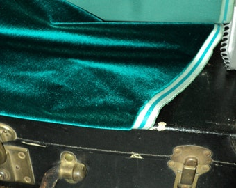 """Antique Victorian Silk Velvet Fabric Yardage Made in France 1890s """"Teal Green"""""""