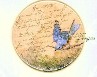 Bluebird Inspirational Bible Scripture Eye on Sparrow Matt 10 of Hope Purse Mirror Bird two sizes available