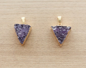 1 pcs of Amethyst Quartz Triangle Pendant With Gold Plated Brass Foiling with Bail - Gemstone Pendants