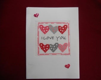 "Cross stitch Card - Valentines Day - ""I love you"""