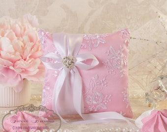 Pink Ring Bearer Pillow, READY TO SHIP, Wedding Ring Pillow, Ring Pillow, Ring Cushion, Lace Ring Pillow, Ring Bearer, Wedding Ring Cushion