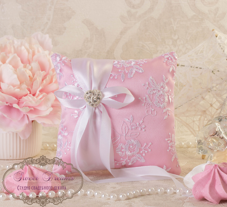 Pink Ring Bearer Pillow READY TO SHIP Wedding Ring Pillow