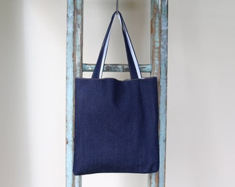 Organic Raw Denim Tote Bag