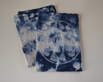 Hand dyed and printed 100% linen napkin duo