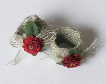 Red flowers Napkin rings set of 4