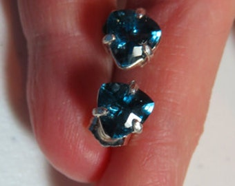 London Blue Topaz Post Earrings - Beautiful 7mm Trillion Deep Blue Posts - Natural London Blue Topaz & Sterling Silver