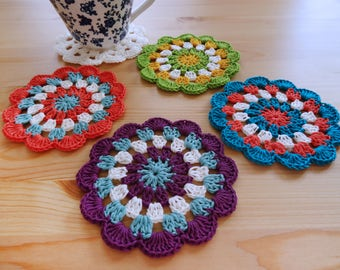 Crochet Pattern - Rainbow Coasters - PDF Pattern