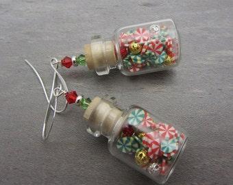 Mini Bottle Earrings Christmas Bottle Earrings Peppermint Stripe Bottle Earrings Small Jar Earrings SRAJD USA Handmade