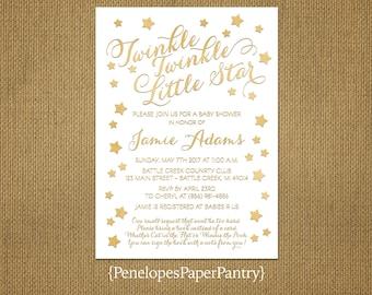 Elegant Twinkle Little Star Baby Shower Invitation,Gender Neutral,Gold Stars,Gold Print,Shimmer,Book Poem,Custom,Printed Invitation,Envelope