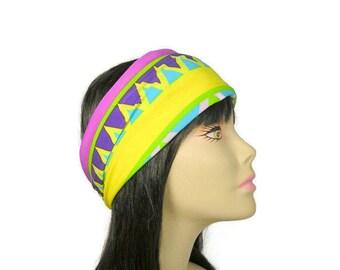 Aztec Head Wraps Workout Head Wrap Yoga Head Wrap Pink Yellow Blue Green Hair Wrap Yoga Headband Head Scarf Head Wraps Yoga Hair Wraps