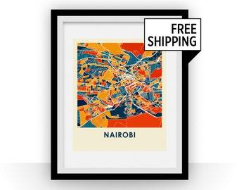 Nairobi Map Print - Full Color Map Poster