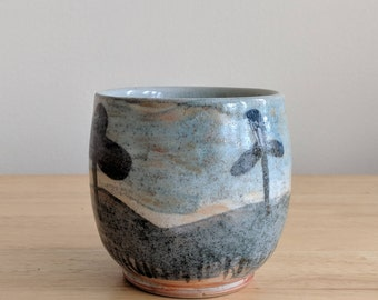 Handmade Hand-Painted Abstract Pastoral Windmill Tumbler