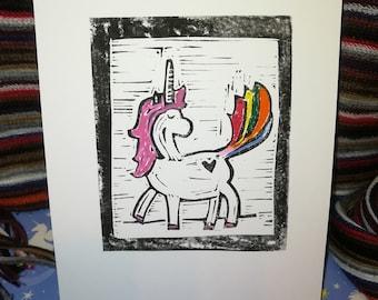 Rainbow Unicorn Linoprint handmade printmaking A5