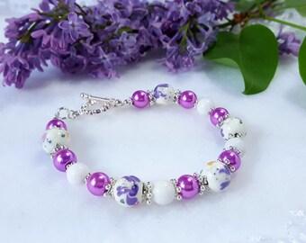 Multicolored pearlised porcelain bracelet UNIQUE#2