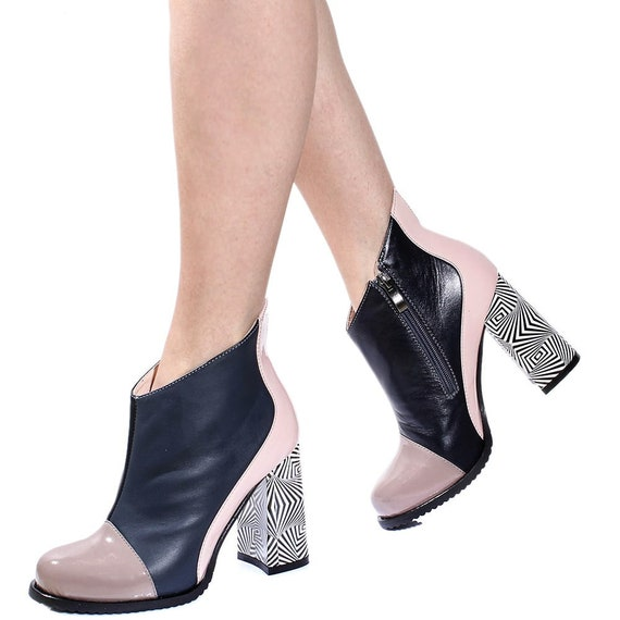 leather boot TL0004 Wedding handmade beige winter Pump Custom party pumps shoes heels women shoes Black Fall chic shoes office fashion ankle CnXnxBHqwS