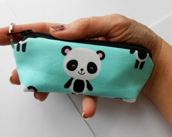 Small Coin Purse Mini Key Ring Zipper Pouch ECO Friendly Padded Lip Balm Holder Case Earbud Pouch Zippered Pouch  Pandas on Aqua