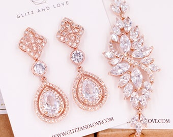 Rose Gold Deluxe Cubic Zirconia Teardrop Earring | vintage halo style, bridal wedding gifts, chandelier earrings, brides, Seanna E212 B86