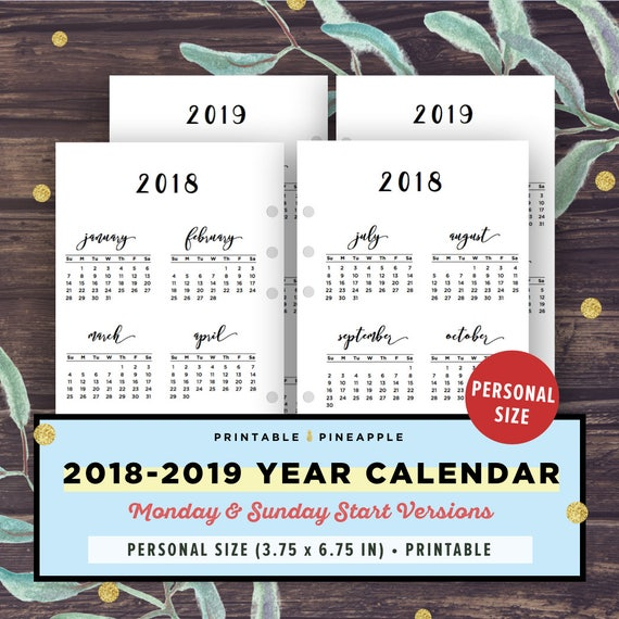Year Planner  Personal Size Inserts Calendar