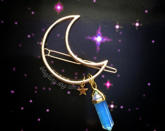 GOLD Crystal Crescent Moon hair clip, crescent hair barrette with gemstone dangle (original design)