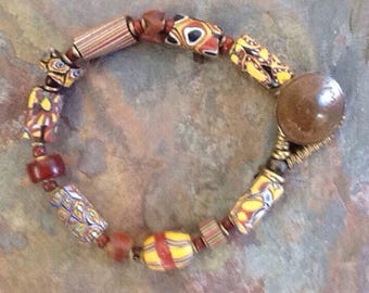 Antique African Trade Bead Bracelet, Antique Milliefiore Trade Bead Bracelet, Ethnic Beaded Bracelet, Boho Jewelry, Trade Bead Jewelry