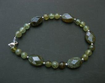 Green garnet Bracelet - 14 mm and 6 mm beads