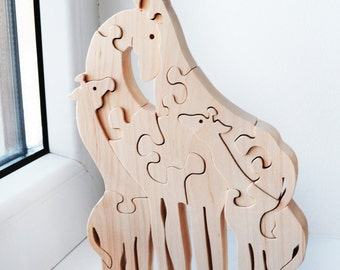 Wooden Puzzle giraffe Educational toys Mom's day gift Giraffes Toy Wooden giraffe  family Wooden puzzle Animal Waldorf Grandfather's day